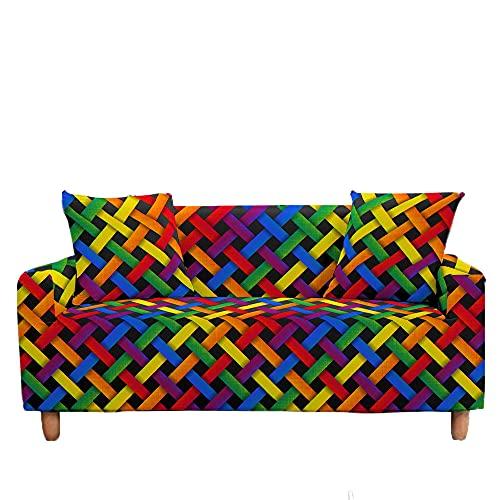 Meiju Fundas de Sofá Elasticas de 1 2 3 4 Plazas Impresión Ajustables Antideslizante Cubierta de Sofá Lavable Extensible Funda Cubre Sofas Furniture Protector (Arcoíris,1 Plaza - 90-140cm)