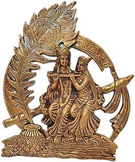 Akriti Brass Metal Radha Krishna MorPankh Wall Décor Showpiece Radha Krishna Wall Hanging Living Room, Decorative Wall déc...