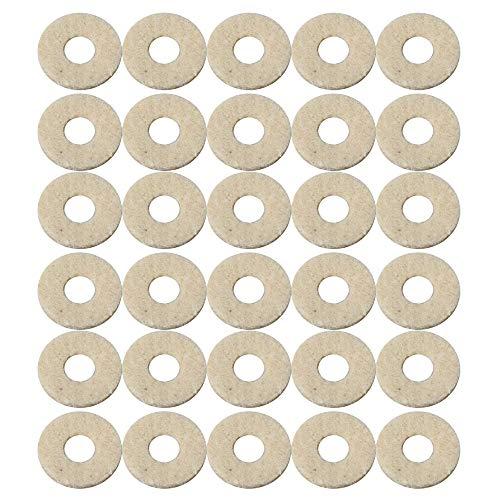 Mxfans White Trumpet Valve Felt Washers Cushion Pad 5mm Inner Dia Pcak of 30