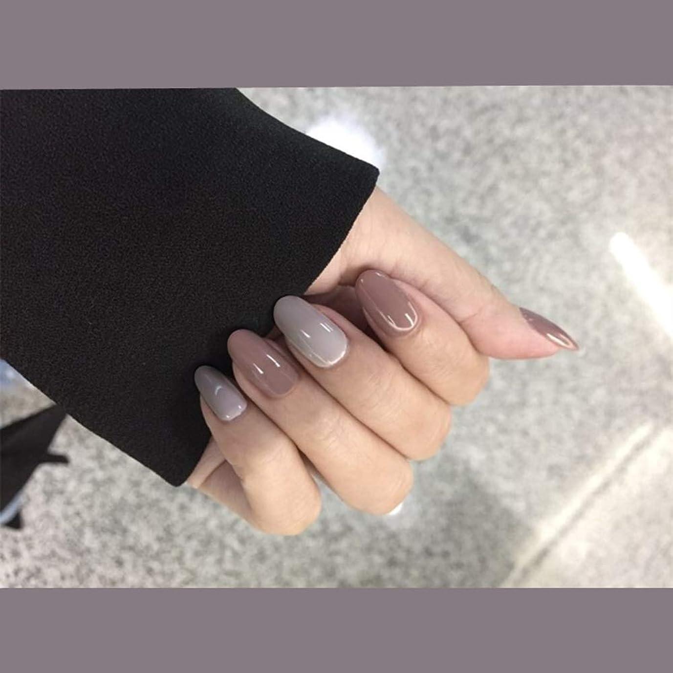 神秘配列神秘XUTXZKA ホームオフィスの女性のための24Pcs色の偽の釘の短い先端の灰色の長い偽の釘