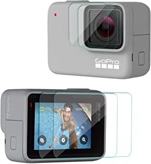 【Taisioner】 GoPro HERO 7 White・Silver専用 9H液晶保護フィルム 液晶保護フィルム フィルム カメラフィルム 保護シート 気泡ゼロ 貼りやすい スクリーン+レンズ用 汚れとホコリと傷を防ぐ 2セット入り(GoPro HERO7 HERO対応不可)