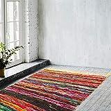 Umi by Amazon Bohemian Chindi Thin Area Runner Rag Rug (120 x 180 cm, Yellow Chindi Runner)