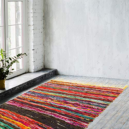 Naqsh Alfombra hecha a mano Chindi Rag - Alfombra amarilla tejida a mano ecológica multicolor de algodón reciclado reversible Chindi Rug Rag