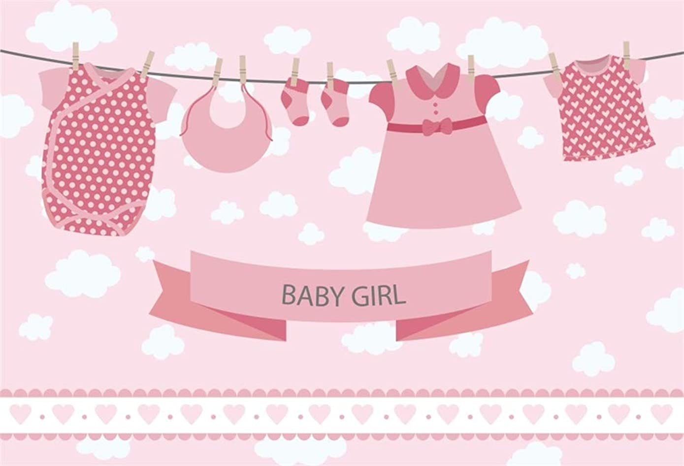 DaShan 5x3ft Polyester Photography Pink Backdrop Baby Shower Girl Rompers Socks Dress Napkin on Clothesline Clouds Background for Birthday Party Banner Picture Taking YouTube Photo Studio Props