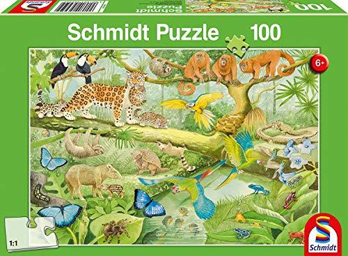 Schmidt- Puzzle Animali della Foresta Tropicale, 100 Pezzi, 56250