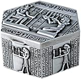 Organizador de joyas de aleación de zinc, caja de joyería egipcia de estilo exquisito vintage caja de almacenamiento de anillo pequeño, adecuado para colocar decoraciones para bodas o cumpleaños