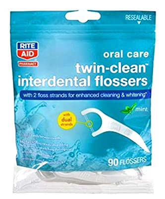 Rite Aid Oral Care Twin Clean Interdental Flossers 90 ct
