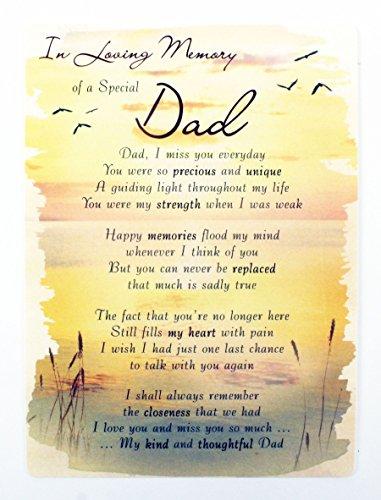 in Loving Memory of Dad Grave Card Keepsake Poem Memorial Bereavement...