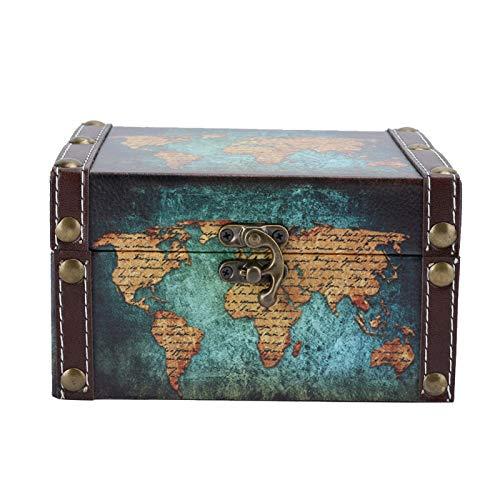 Cuque 3 Tipos de Exquisito Organizador de Joyas de Mano de Obra, Estuche de joyería, decoración clásica del hogar para Almacenamiento de(2208A-06-Green Map)