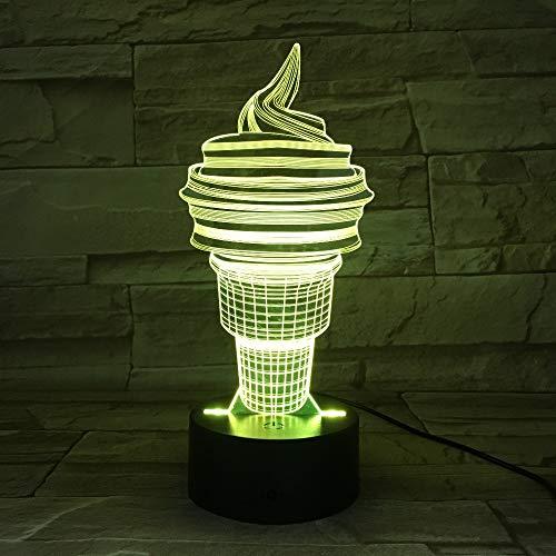Cono de helado Cumpleaños USB Sueño 3D LED Luz de noche Lámpara de mesa Mesita de noche Decoración Regalo de niños