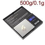 Báscula digital de bolsillo, báscula de cocina Goldwaage, perfecta para joyas, monedas, especias, polvo y otros pequeños, Smart Scale con LCD, función de tara, coche de función de 500 g x 0,1 g