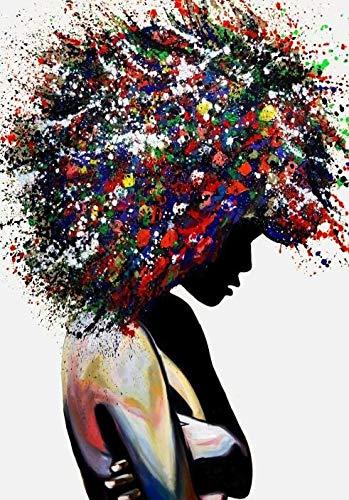 Afrikanische Mädchen abstrakte Leinwand Malerei moderne Graffiti Wandkunst Leinwanddruck Afrikanische Kunst Bild für Wohnzimmer Wand nach Hause rahmenlose dekorative Malerei A23 60x90cm