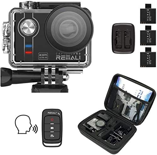 REMALI CapturePro 4K 60fps 20MP Waterproof Sports Action Camera Kit with Carrying Case 3 Batteries product image