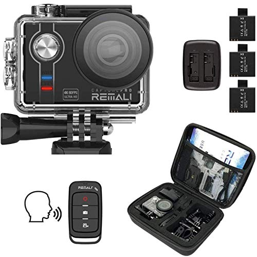 REMALI CapturePro 4K/60fps 20MP Waterproof Sports Action Camera Kit with Carrying Case + 3 Batteries, WiFi, 2