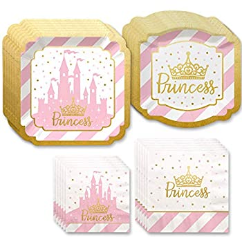 Big Dot of Happiness Little Princess Crown with Gold Foil - Pink and Gold Princess Baby Shower or Birthday Party Tableware Plates and Napkins - Bundle for 16
