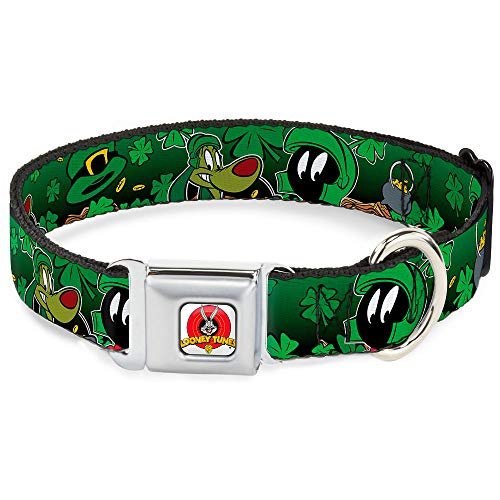 Dog Collar Seatbelt Buckle Marvin The Martian K 9 Poses Clovers Greens 15 to 26 Inches 1.0 Inch Wide