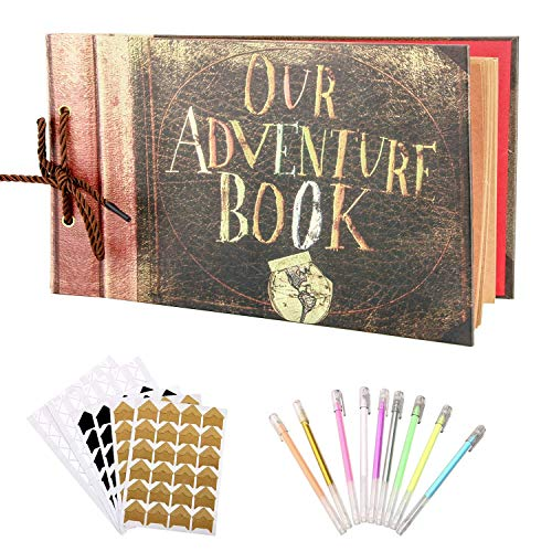 Our Adventure Book,WERTIOO 100 Pages Scrapbook DIY Handmade Photo Album Scrap Book 11.6x7.5 Inch with DIY Accessories Kit for Anniversary, Wedding, Travelling, Baby Shower, etc