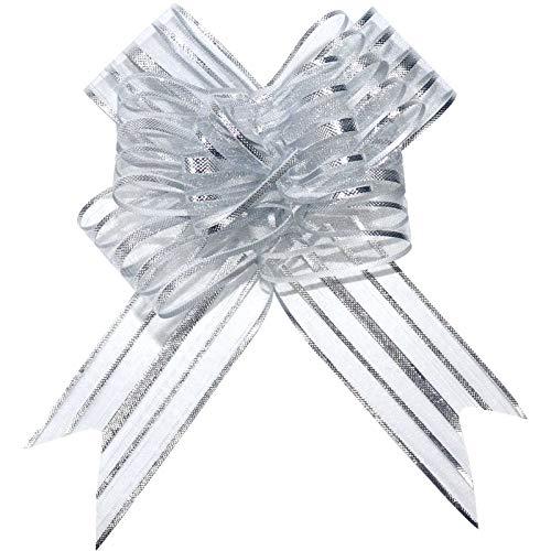Tiruiya 40 Stück Geschenk Schleife mit Geschenkband Matt zum Geschenkverpackung 50 mm Groß String für Hampers Organza Band Boxen Dekorative Schleifen Bänder (Silber)