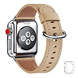 WFEAGL Compatible iWatch Band 38mm 40mm 42mm 44mm, Top Grain Leather Bands of Many Colors for iWatch SE & Series 6,Series 5,Series 4,Series 3,Series 2,Series 1 (Camel Band+Silver Adapter, 42mm 44mm)