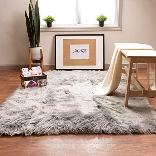 Super Area Rugs Soft Faux Sheepskin Fur Fluffy Area Rug, Gray, 5' x 7'