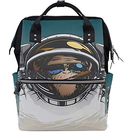 Mummy Backpack Monkey Astronaut Windel 28X18X40Cm Rucksack Rucksack Mit Großer Kapazität Reißverschluss Babytaschen Travel Dad Multifunktions-Casual Mom Unisex