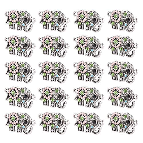 Artibetter Colgante de Elefante con Diamantes de Imitación Amuleto de Animal Buena Suerte Estatuilla de Elefante Accesorios para Manualidades Collar Pendientes Pulsera Joyería Fabricación de