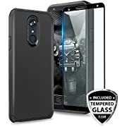 TJS LG Stylo 4 2018/LG Stylo 4 Plus/LG Q Stylus/LG Q Stylus Plus/LG Q Stylus Alpha Phone Case, [Full Coverage Tempered Glass Screen Protector] Dual Layer Hybrid Shockproof Armor Cover