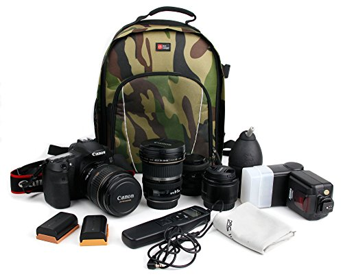 DURAGADGET Sac à Dos résistant à l'eau Motifs Camouflage pour Canon IXUS 175, IXUS 180, Ixus 177, SX730 HS et Leurs Accessoires - Bretelles rembourrées