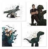 PGbureau Jurassic World Wall Art Posters Prints - Set of 4 Fallen Kingdom - Owen Grady - Claire Dearing - Inspired Home Decor 8x10