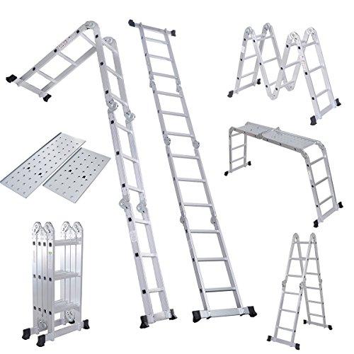 Folding Ladder EN131 12.5FT Aluminum Folding Step Extension Multifunction New