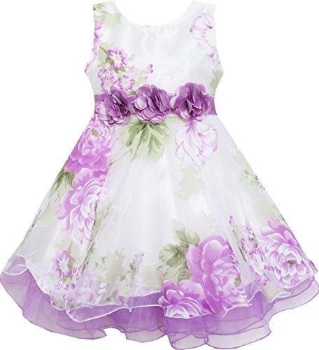 Mädchen Kleid Tüll Braut- Schnüren Mit Blume Detailing Lila Gr.146