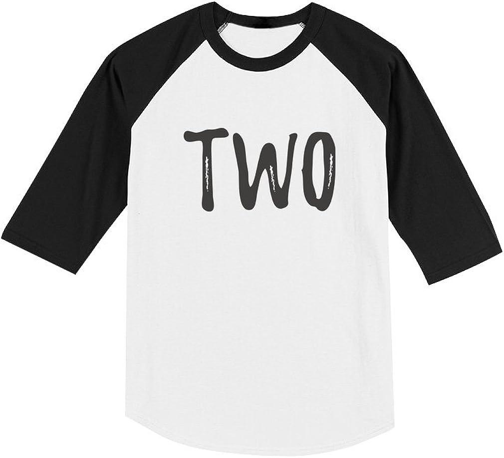2nd Birthday Gift for Two Year Old Child Toddler Raglan 3/4 Sleeve Baseball Tee