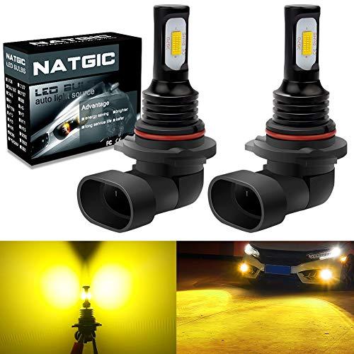 NATGIC HB4 9006 Ampoules Antibrouillard LED 75W Dernières Puces Intégrées 3570 CSP 3000K Jaune Doré et 2400LM pour Ampoules Antibrouillard Feu de Jour DRL Lampe de Conduite (Pack de 2)
