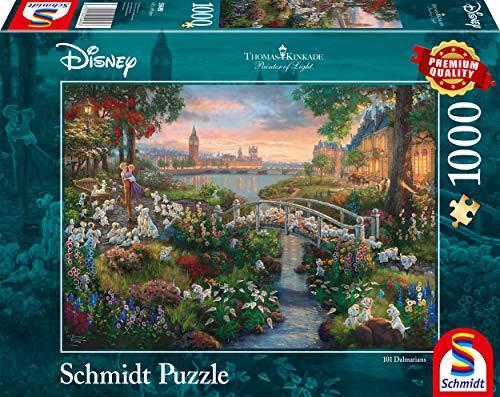 Schmidt Spiele- Thomas Kinkade Disney 101 Dalmata Puzzle 1000 Pezzi, Multicolore, 59489