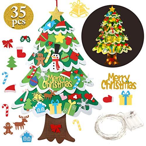 FunPa Fieltro Árbol de Navidad, Árbol de Navidad DIY con 50 Luces LED 35 Unids Adornos Navidad Decoración Colgante para Niños arbol de Navidad Cafe Hotel casa decoración