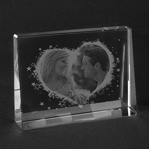 Personello® Glasfoto mit eigenem Foto gestalten, Herz im Glas, Größe S=80x60x25mm