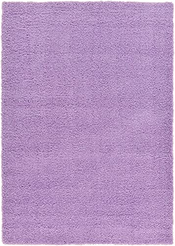 Unique Loom Solo Solid Shag Collection Area Modern Plush Rug Lush & Soft, 7' x 10', Lilac