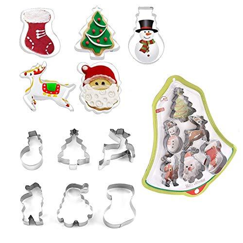 Sqxaldm Stampo per Biscotti Natalizi in Acciaio Inox Natale Formine per Biscotti Fai da Te di Natale 3D Zucchero Set di Formine per Biscotti Natalizi Inox Taglierina per Biscotti Gli Strumenti(2 Set)