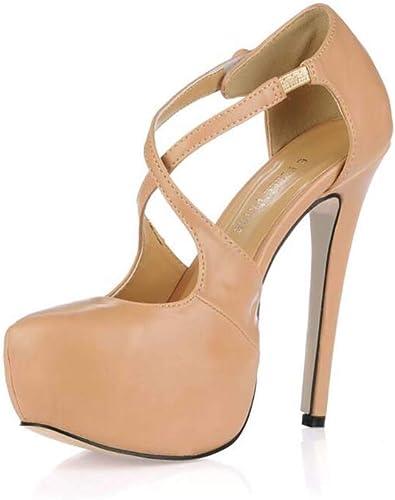 GHFJDO Sandales à Bride De Cheville Croisées pour Femmes, Plateforme De Noce Les Les dames Strappy Stiletto Chaussures à Talons Hauts,Beige,38EU