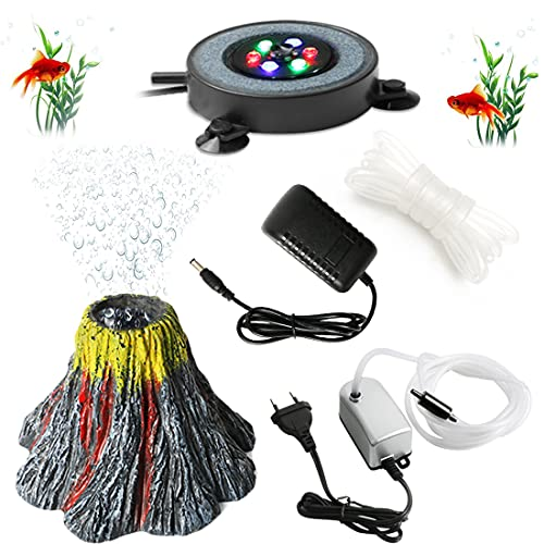 Aquarium Sprudler Stein Sauerstoff Pumpe LED Lighting, Aquarium LED für Fische Aquarium Luft Stein Lichtpumpe Luftblase Stein Vulkan Lampe Aquarium Deko