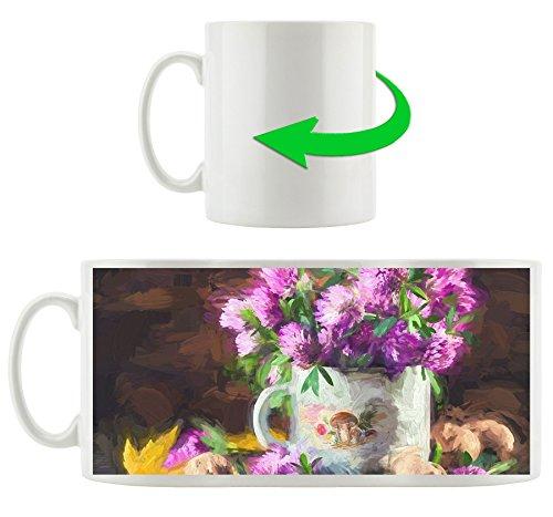 ein Strauß Kleeblüten in Blechtopf, Motivtasse aus weißem Keramik 300ml, Tolle Geschenkidee zu jedem Anlass. Ihr neuer Lieblingsbecher für Kaffe, Tee und Heißgetränke.