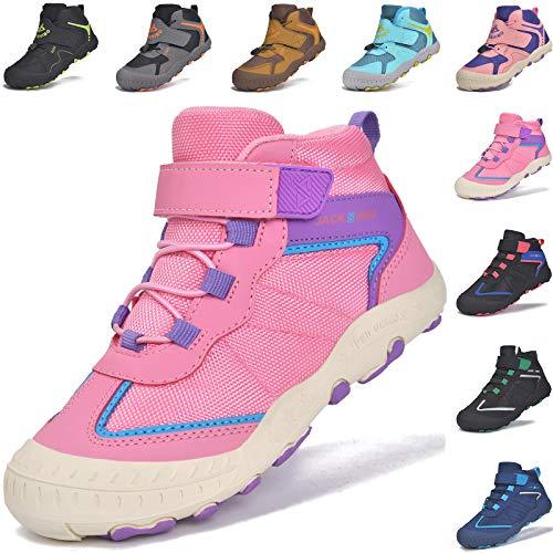 MARITONY Kinderschuhe Wanderschuhe Mädchen Trekkingschuhe Kinder rutschfest Atmungsaktiv Laufschuhe Outdoor Sportschuhe mit Klettverschluss, Rosa 32EU