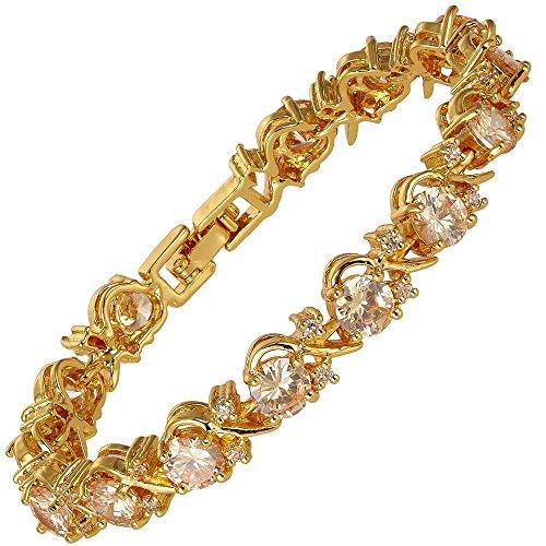 RIVA Blume Tennis Armband [18cm/7inch] mit Rundschliff Edelstein Zirkonia CZ [Champagner] in 18K Gelbgold Vergoldet, Einfache Moderne Eleganz