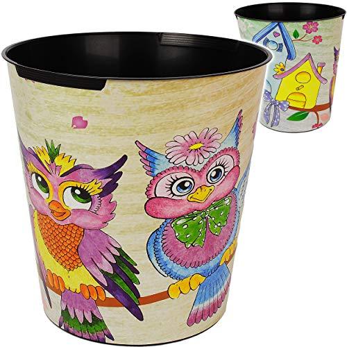 Papierkorb / Behälter - lustige Eulen - 10 Liter - wasserdicht - aus Kunststoff - Ø 28 cm - großer Mülleimer / Eimer - Abfalleimer - Aufbewahrungsbox - Abfall..