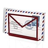 Desk Organizer & Mail Organizer Inbox Envelope Holder - Red Metal Letter Organizer and Office Tray for Your Desktop - Office Accessories & Unique Gifts for Women, Office Decor Gifts for Mom