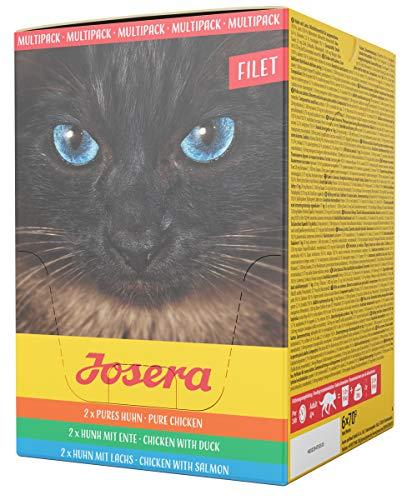 JOSERA Multipack Filet (6 x 70 g) | getreidefreies Katzenfutter | Pures Huhn, Huhn mit Ente und Huhn mit Lachs | Super Premium Nassfutter für ausgewachsene Katzen | 6er Pack