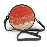 BAODANLA Bolso redondo mujer Shoulder Bags Women Round Bags Golden Wave with A Paper Like Texture Crossbody Leather Circle Bag