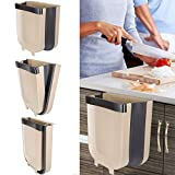 Braoses Hanging Trash Can for Kitchen Cabinet Door, Small Collapsible Foldable Waste Bins, Hanging Trash Holder for Bathroom Bedroom Office Car, Portable Home & Outdoor Garbage Can - 2.4 Gallon