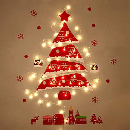 XGXQBS muurhanger vilt, kerstboom, dennenboom met LED-lampjes, kerstcadeau