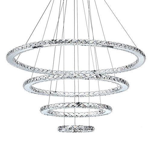 Pendelleuchte LED Kristall Hängeleuchte Modern Ring Design Kronleuchter Rund 4-flammig Weißes Licht Höhenverstellbar Pendelleuchte für Wohnzimmer Schlafzimmer Esszimmer Hotel Decken Innen beleuchtung
